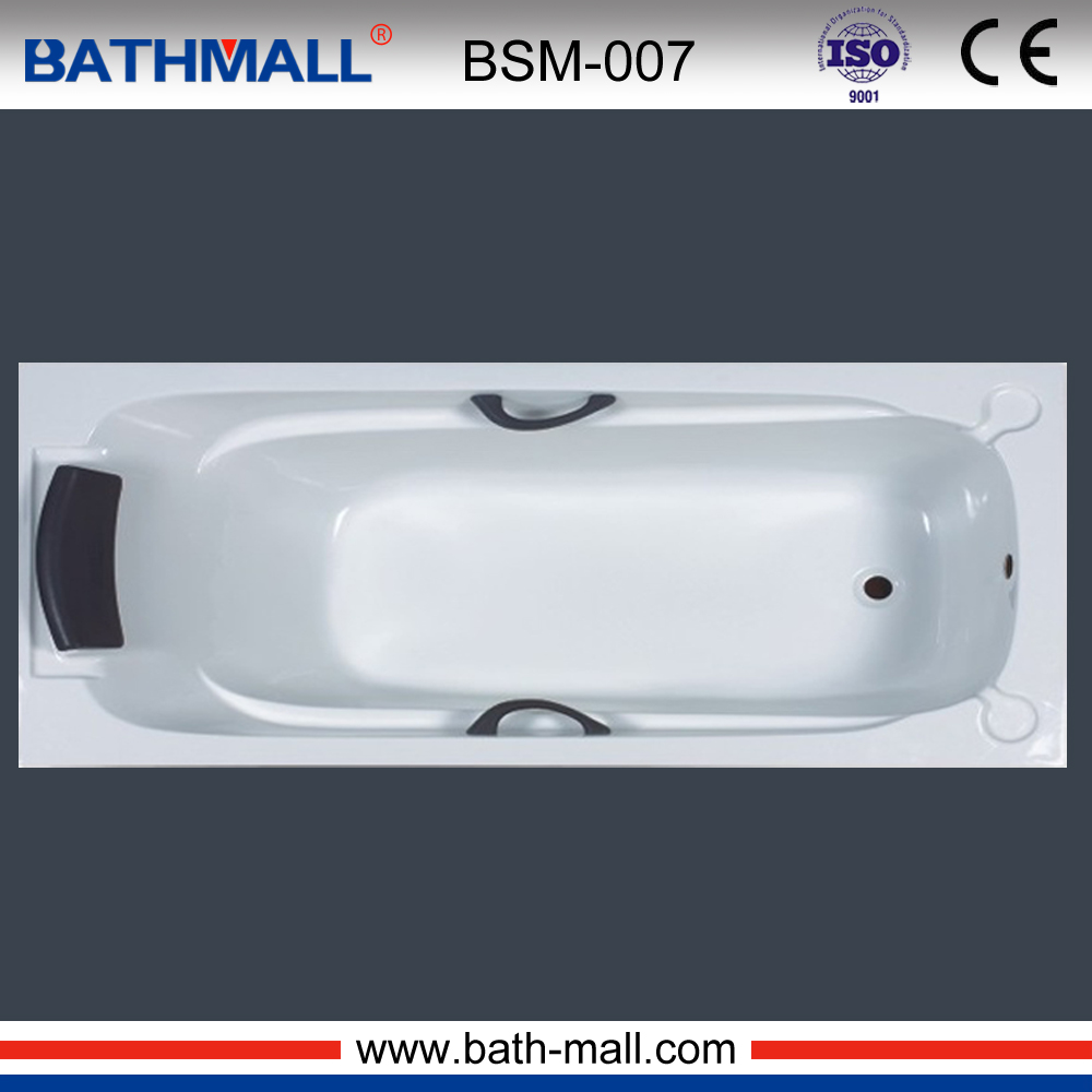 Modern drop in classic acrylic bathtub with pillow and handle ...