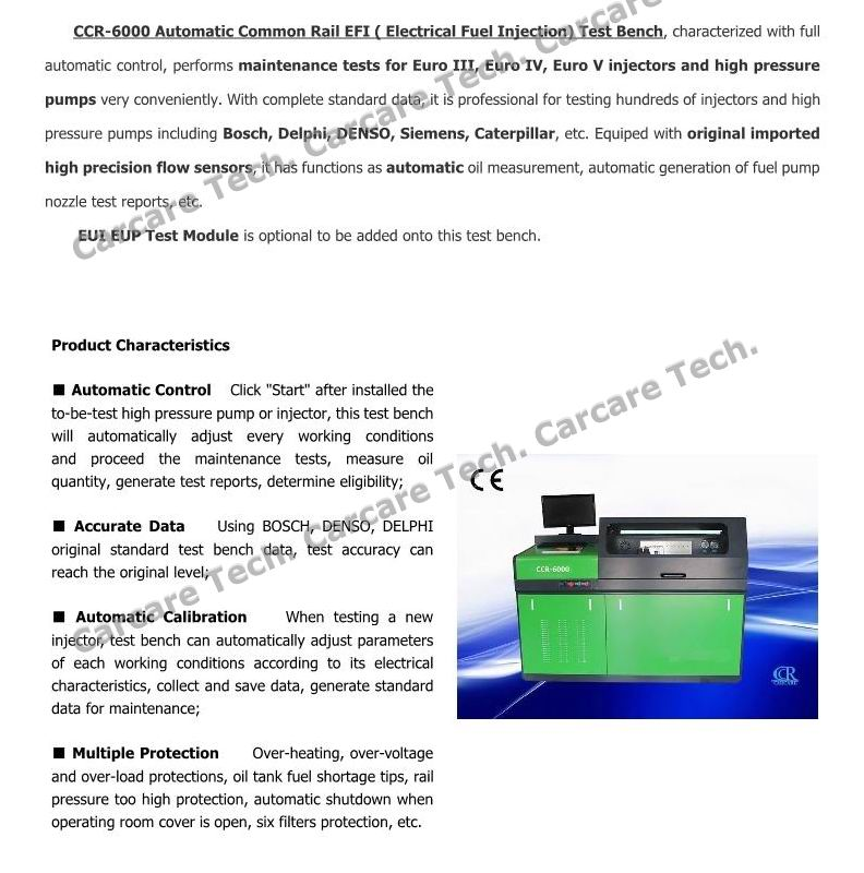 Auto Testing Machine Usage and Electronic Power Common Rail Test Bench