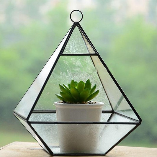 Metal Frame Hanging Glass Terrarium Home Decoration Glass Vase