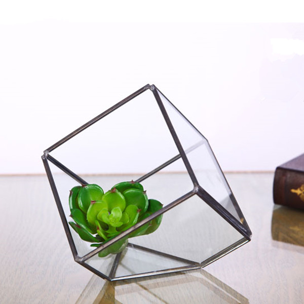 10 10 Cm Metal Frame Square Glass Terrarium Home Decoration Glass