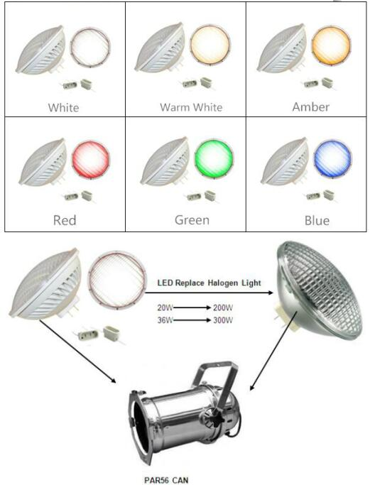 No flicker under camera dimmable PAR56 LED Stage Light Lamp 36w gx16d base