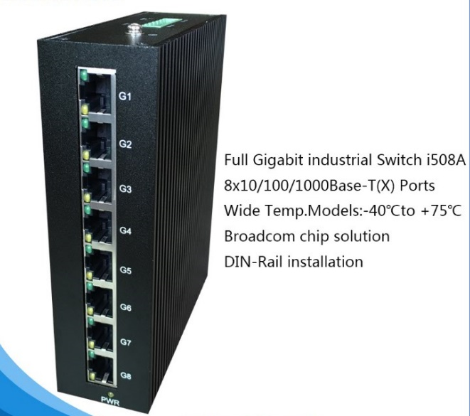 8 Ports Full Gigabit Industrial Ethernet Switch for IP Camera I508A