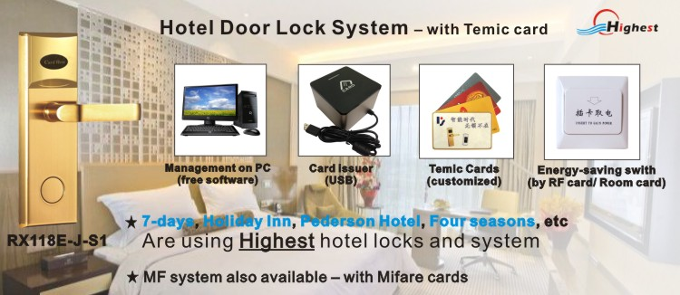 Hotel card door lock mifare card door lock temic card door locks
