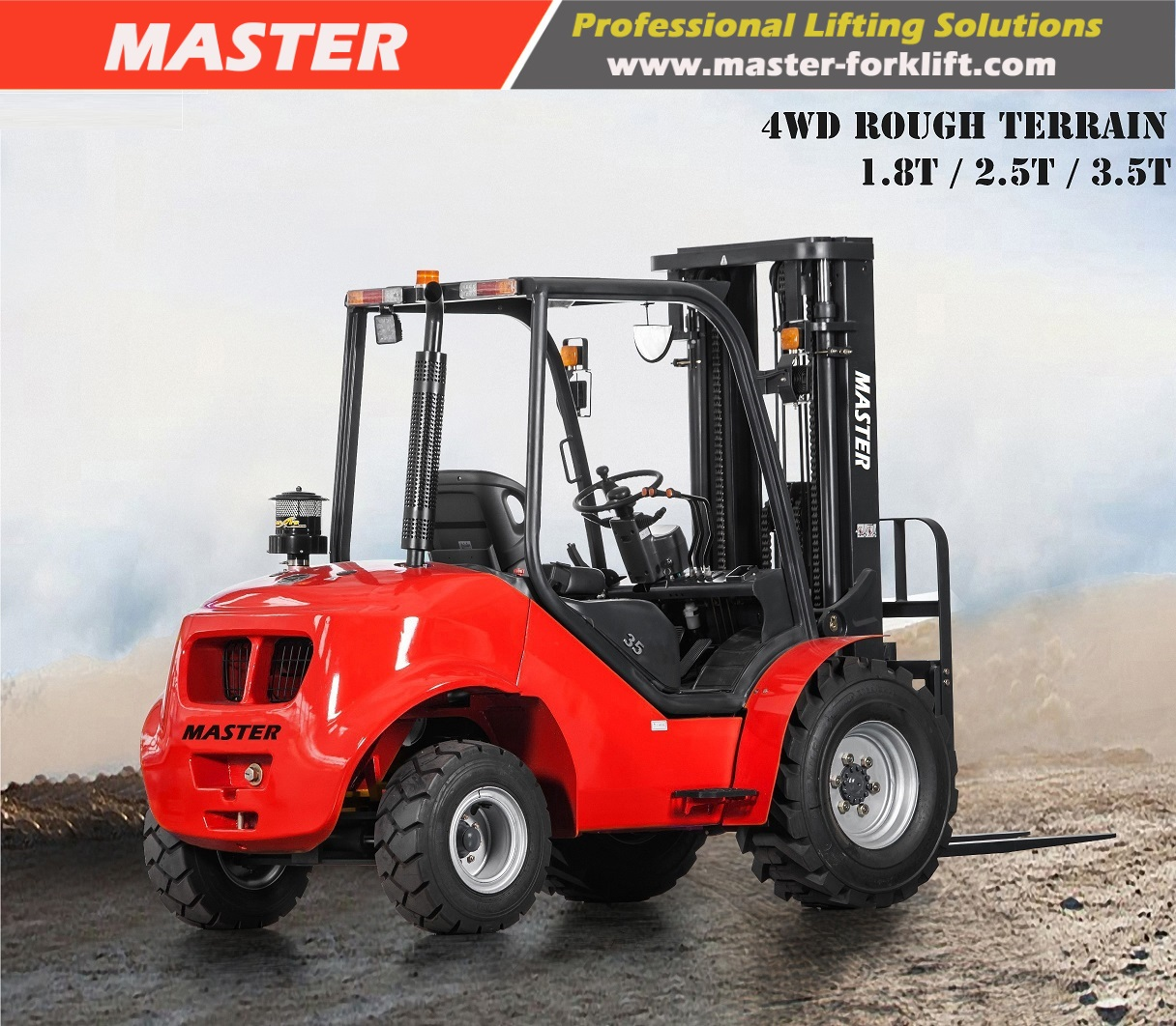 5000lbs all terrain forklift with Japan Yanmar engine from China