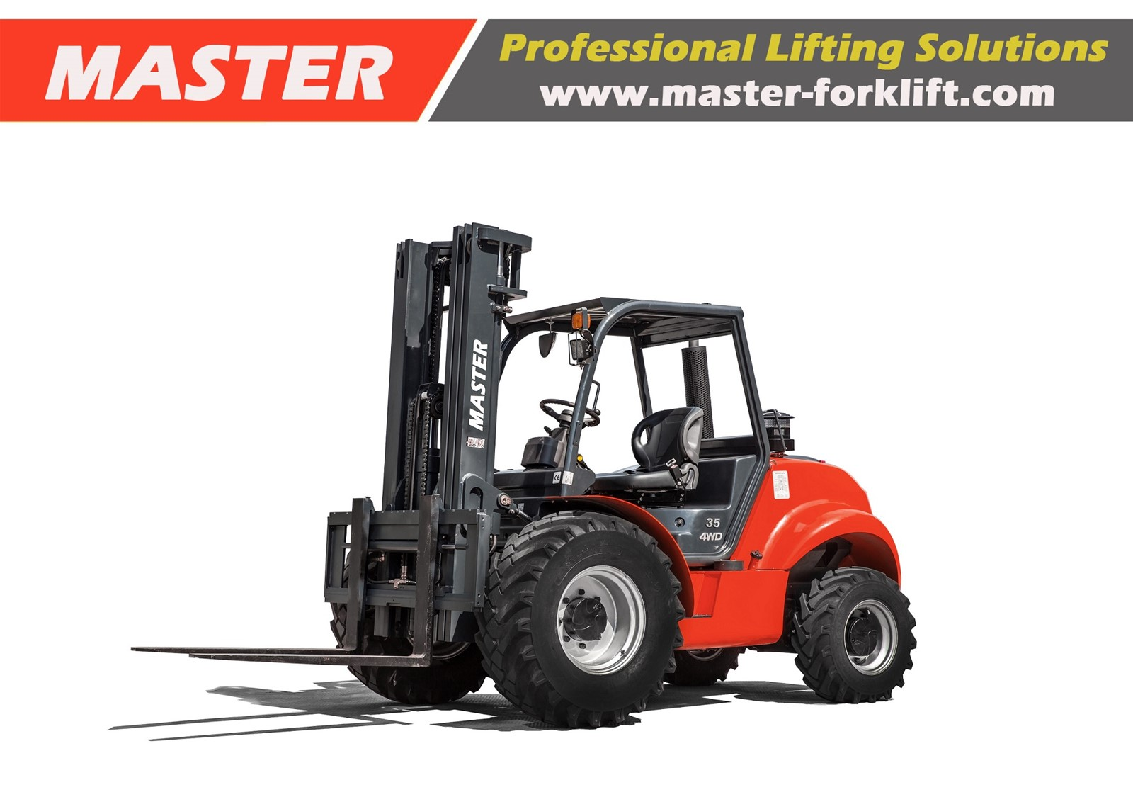 Master 3 5Ton Hydrostatic 4WD Rough Terrain Forklift from China