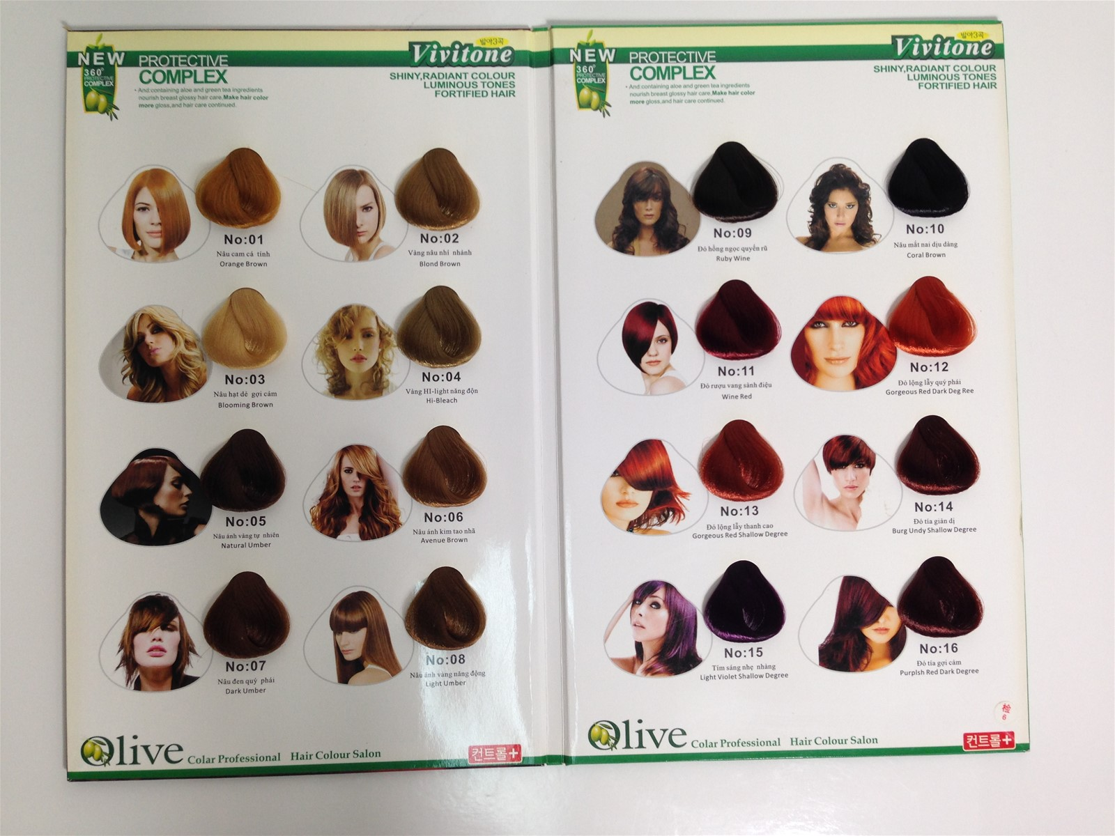 Multi-colors hair color chart green surface hair color chart ...