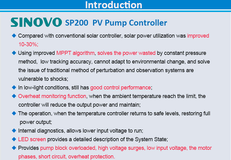 MPPT builtin PV Pump Controllerinverter for agricultural