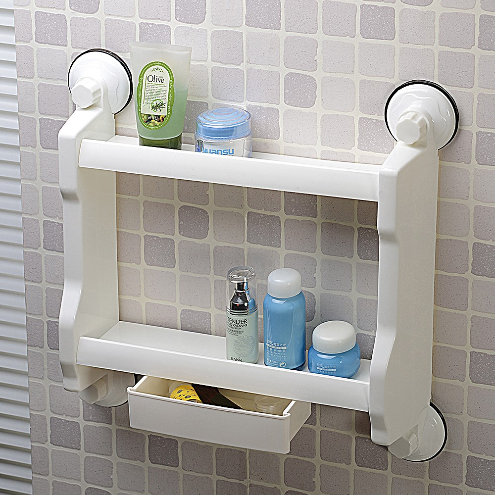 suction cup with drawer 2 tier bathroom water bottle plastic storage rack & suction cup with drawer 2 tier bathroom water bottle plastic storage ...