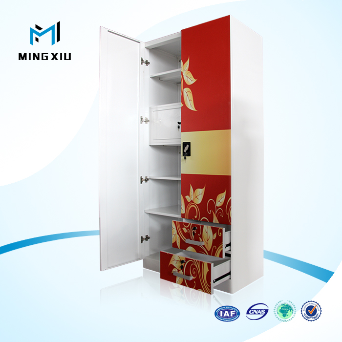 Mingxiu High Quality 2 Door Indian Bedroom Wardrobe Designs / steel wardrobe Storage Cabinet