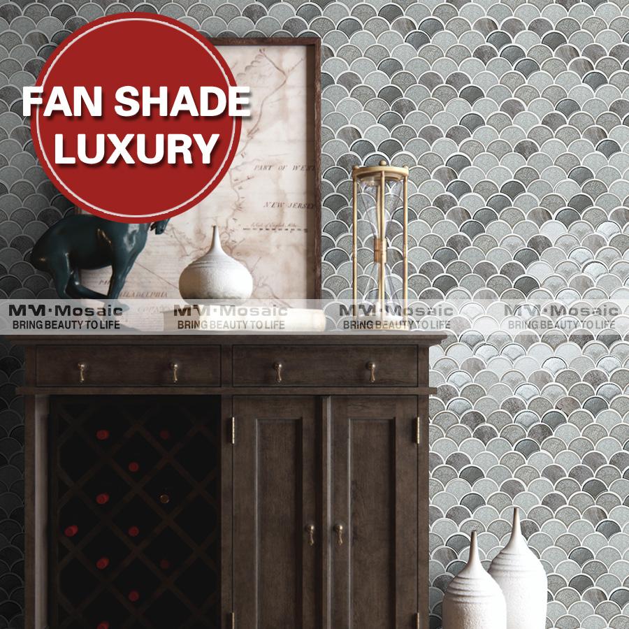 Fan Shaped Handmade Cracked Ceramic Mixed Glass Living Room Mosaic