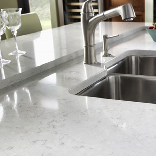 Marble like kitchen quartz countertop for Europe market