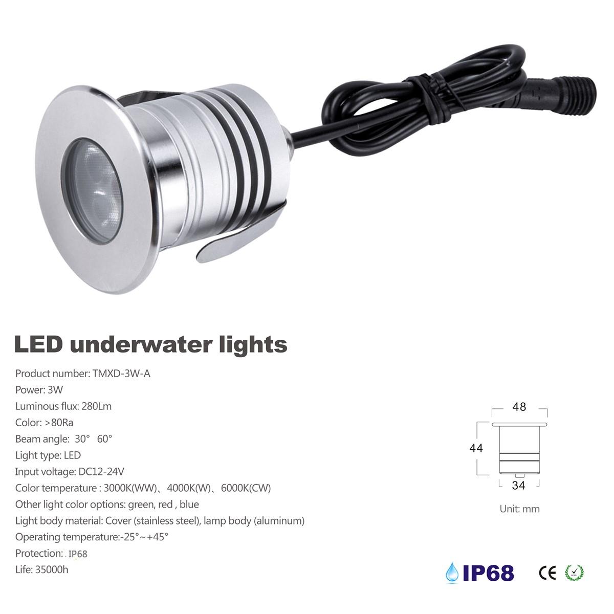 Mini 3W Cree XBD LED Underwater Light DC1224V IP68 Waterproof spotlight