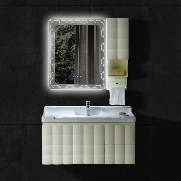 PVC bathroom cabinets dark groove style and intelligent mist removing mirror countertop
