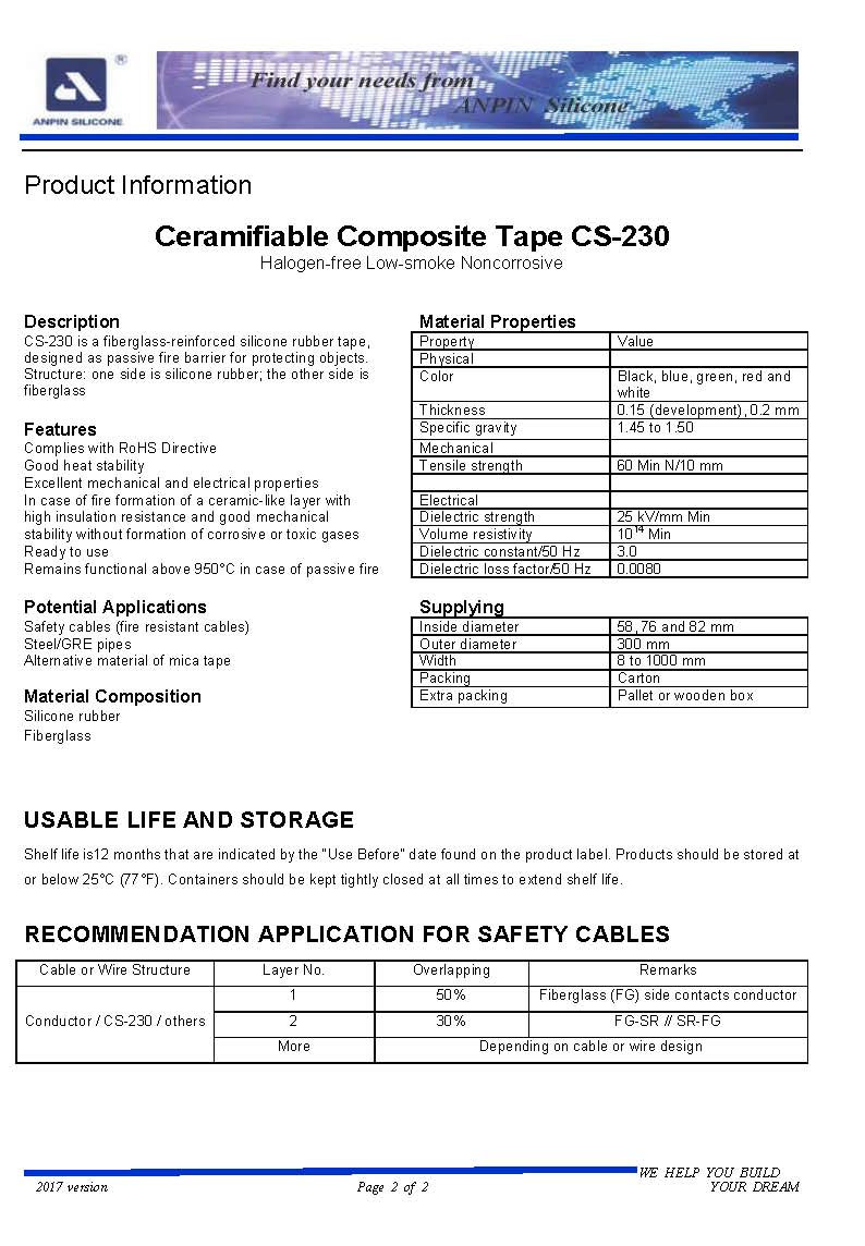 Ceramifiable Silicone Rubber Composite Tape for Fire Resistant Electrical Cable