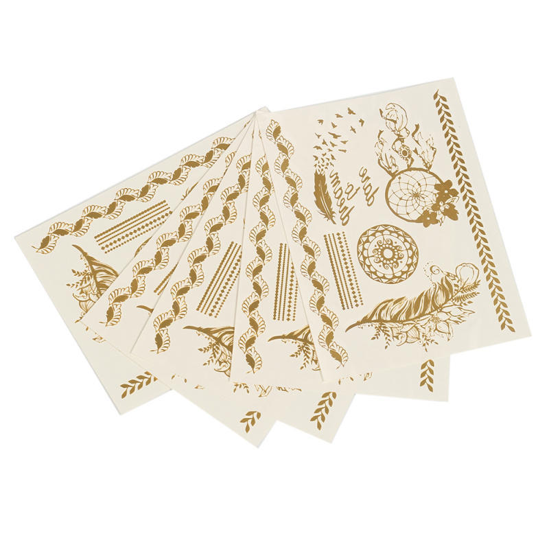 Long Lasting Fashion Gold Tone Metallic Feather Pattern Water Transfer Temporary Tattoos Sexy Body Art Stickers From China Manufacturer Manufactory Factory And Supplier On Ecvv Com