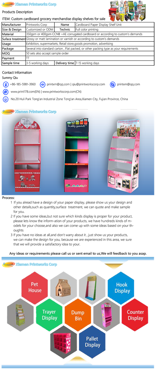 Custom cardboard grocery merchandise display shelves for sale