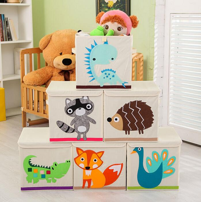 Ebay Organic Cotton Fabric Animal Design Square Box Kids Toys Storage With Cover