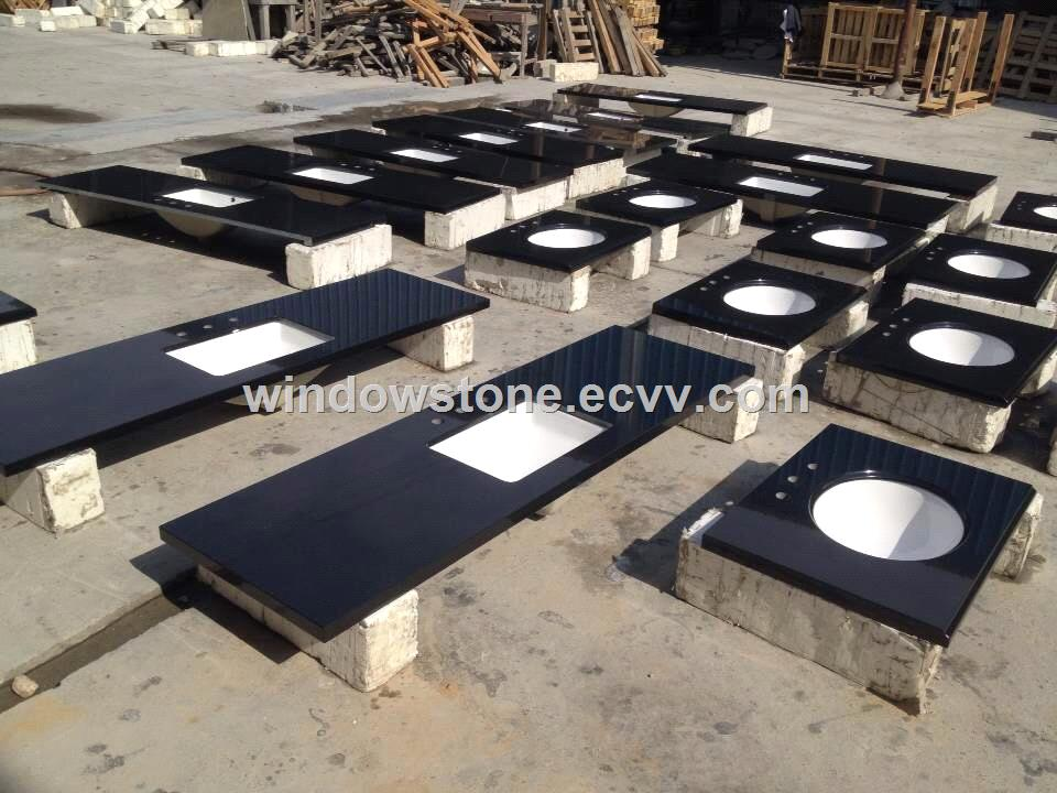 Undermount Sink Black Granite Prefab Bathroom Vanity Top