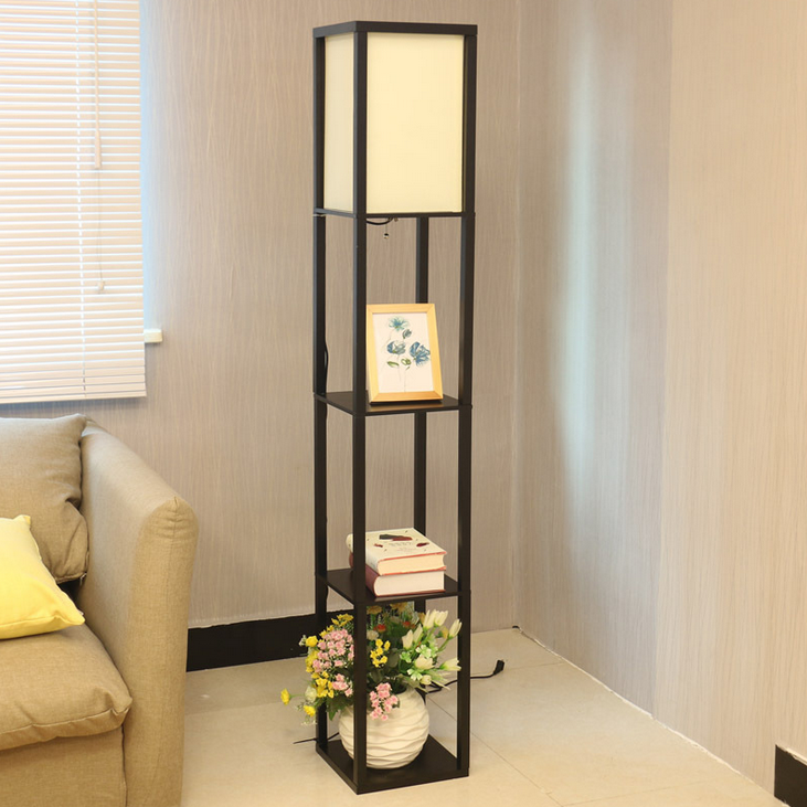 Storge Shelf Floor Lamp Natural Wood Frame With Shelves Lighting For