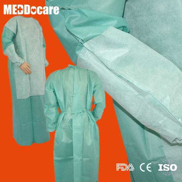 PPE SMS PP Reinforced Waterproof Disposable Hospital Gowns For ...