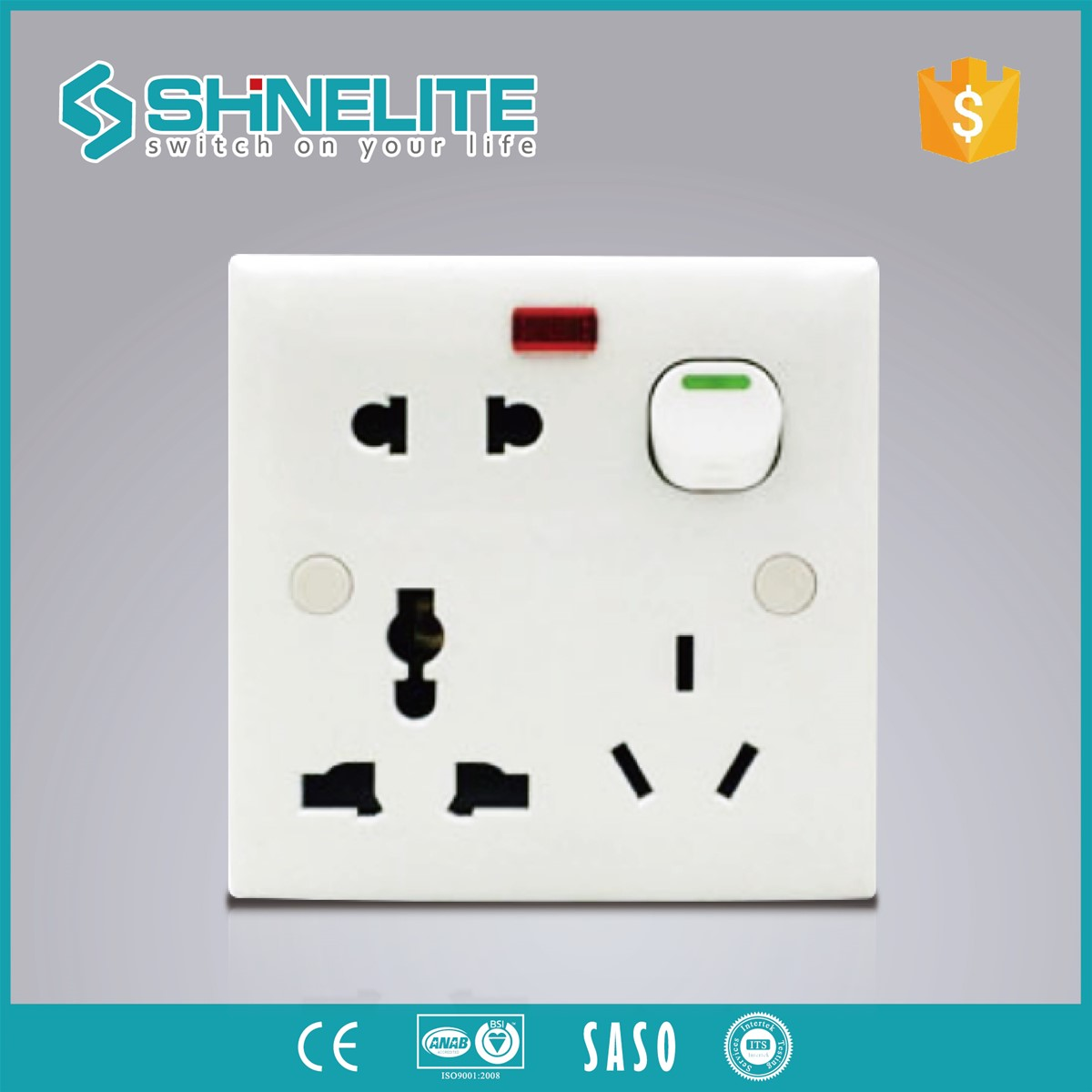 Bangladesh Abs 8pin Multi Socket 13a 250v Swith With Light Electrical Wiring Accessories Manufacturers Switch