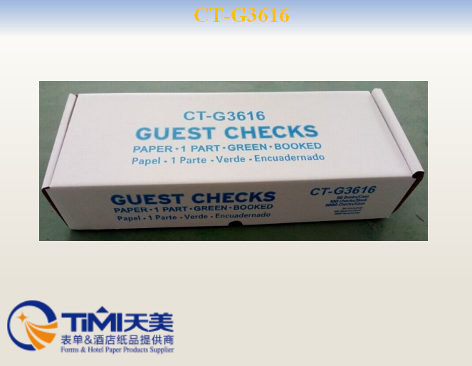 CTG3616 1 Part Green and White Guest Check with Top Guest Receipt 50Case