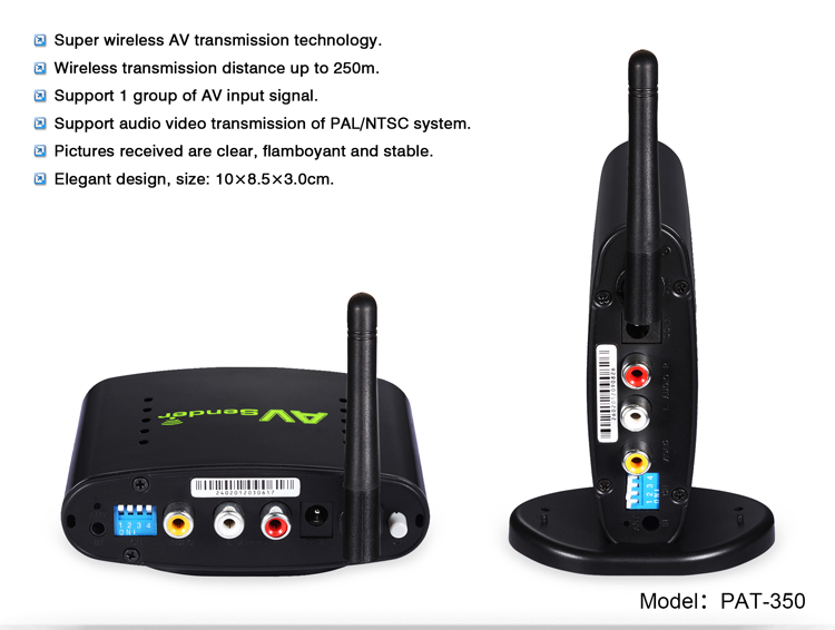 PAKITE 250 Meter 24GHz TV DVR CCTV Wireless Transmitter and Receiver