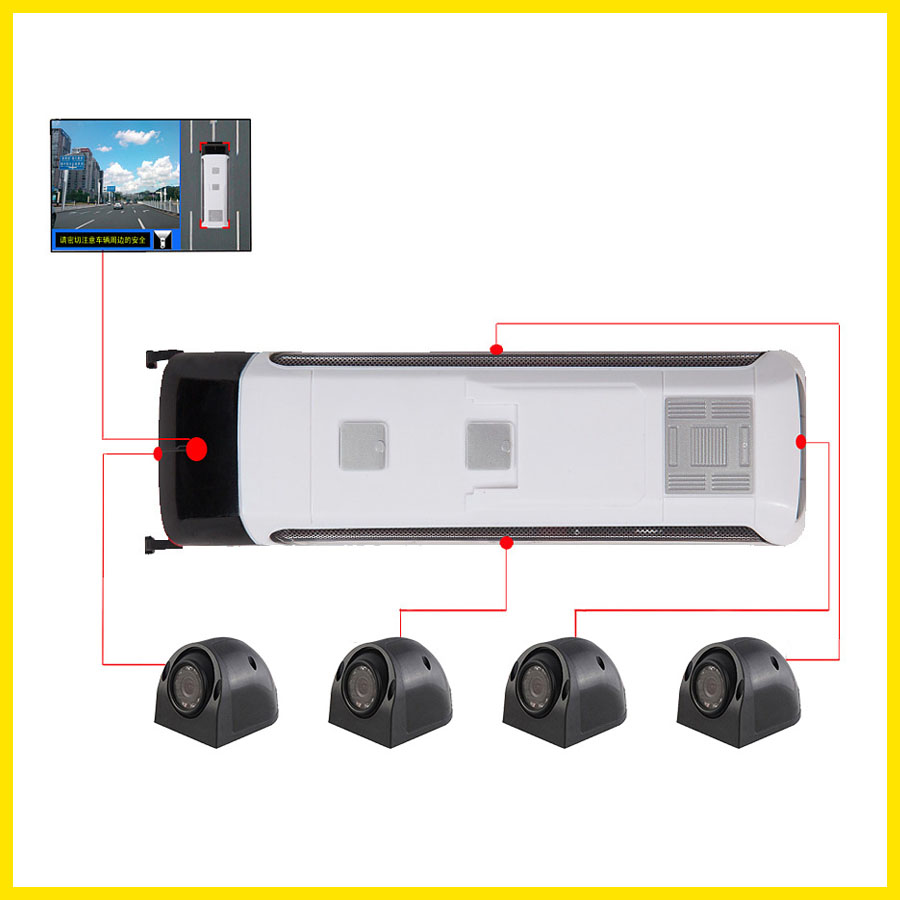 360 Degree Truck DVR with 4 Cameras 4 Split Picture Panorama View Monitoring Display On Car DVD Packing Assist