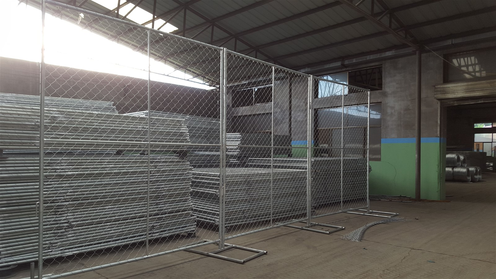 6x12ft Galvanized Temporary Industrial Security Chain-Link Fence ...