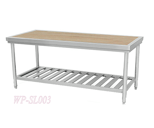 Commercial Kitchen Working Table with Wooden Top & under ...