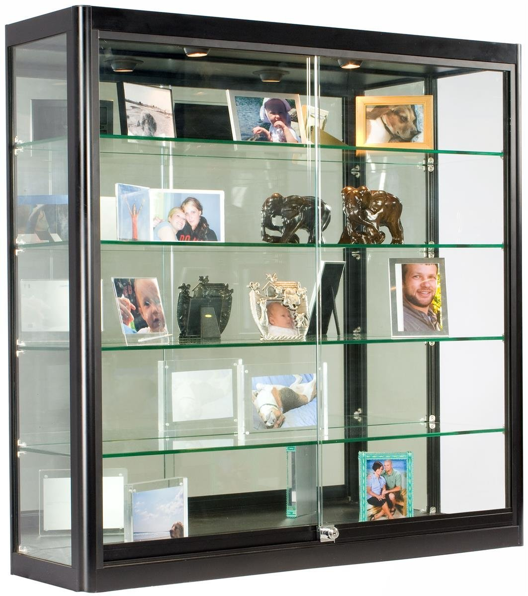 Gl Display Case That Is Wall Mounted Illuminated Has Locking Sliding Doors And Ships Fully