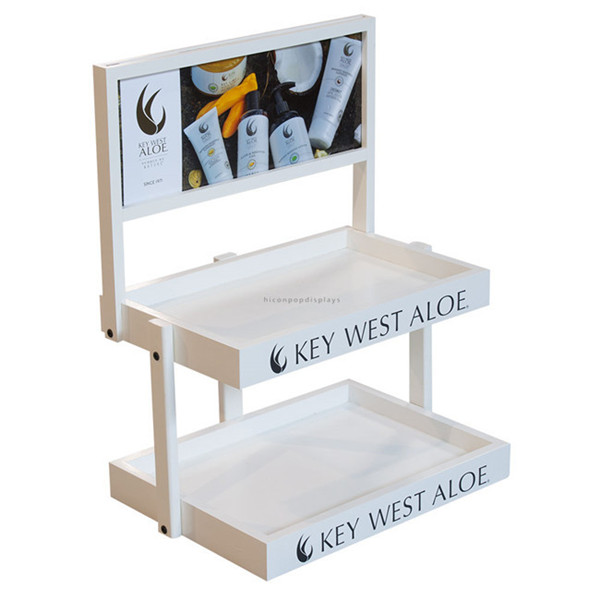 Advertising 2Layer Wood Cosmetic Display Stands with Custom Signage