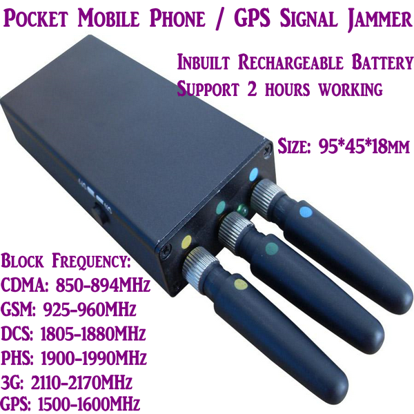 Portable Mini Mobile Phone Signal Jammer Stopper Isolator Blocking CDMAGSM3GDCSPHS GPS Signal W Inbuilt Battery