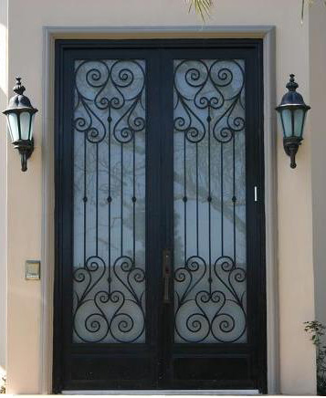 China Iron Dooreyebrown Top Wrought Double Entry Doors For House