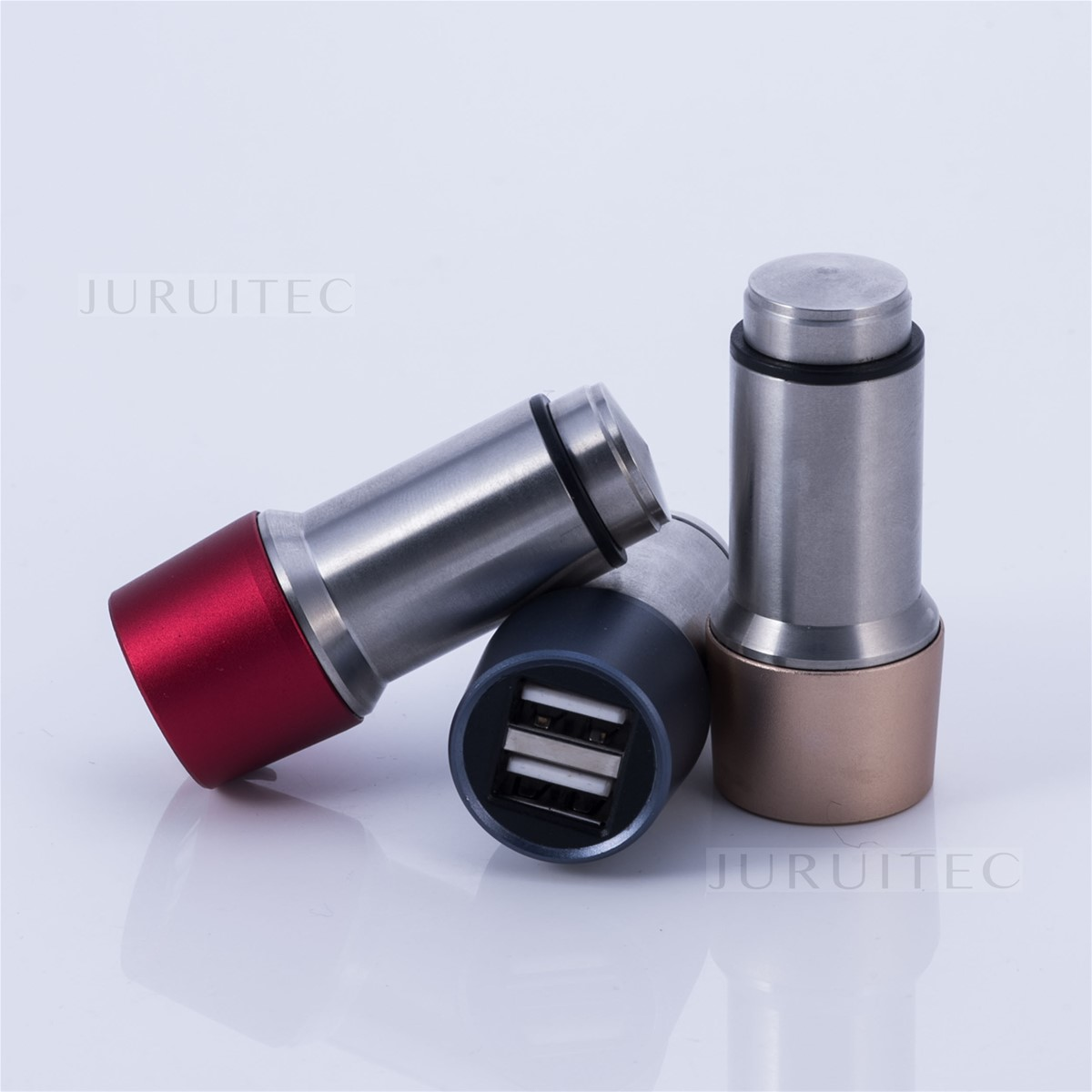 Stainless Steel Dual Ports DC5V 2.4A USB Car Charger