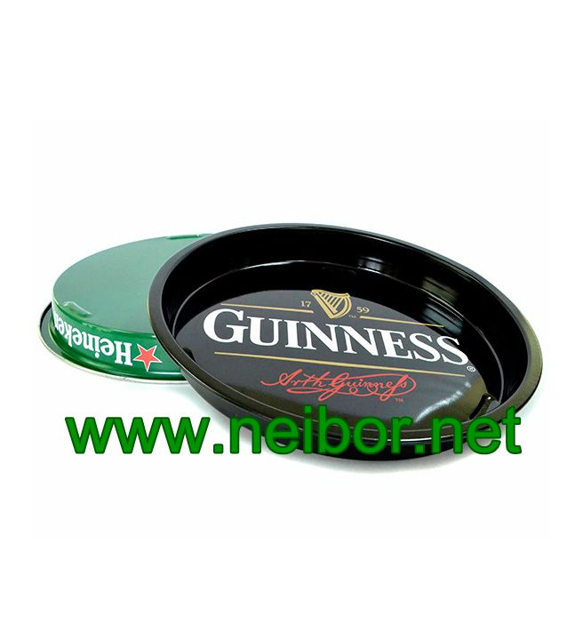 Bar Use or Beer Promotional Use Large Round Metal Tin Serving Tray