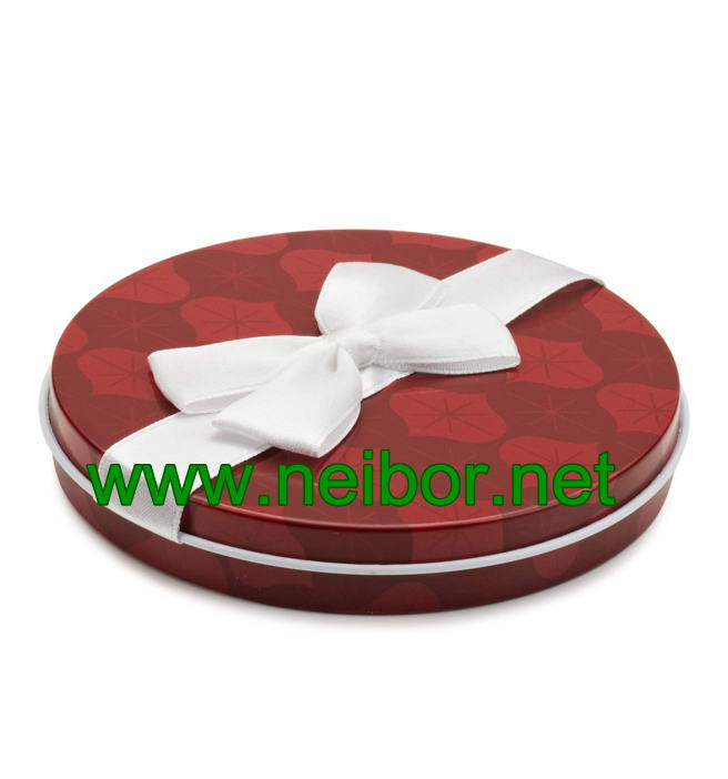 Round shape gift card tin holder with ribbon and flocked tray