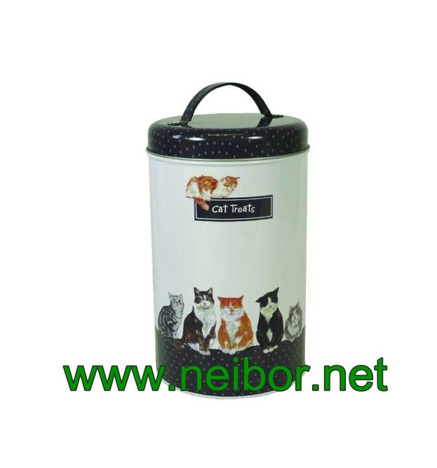 cat dog pet food treats storage tin box