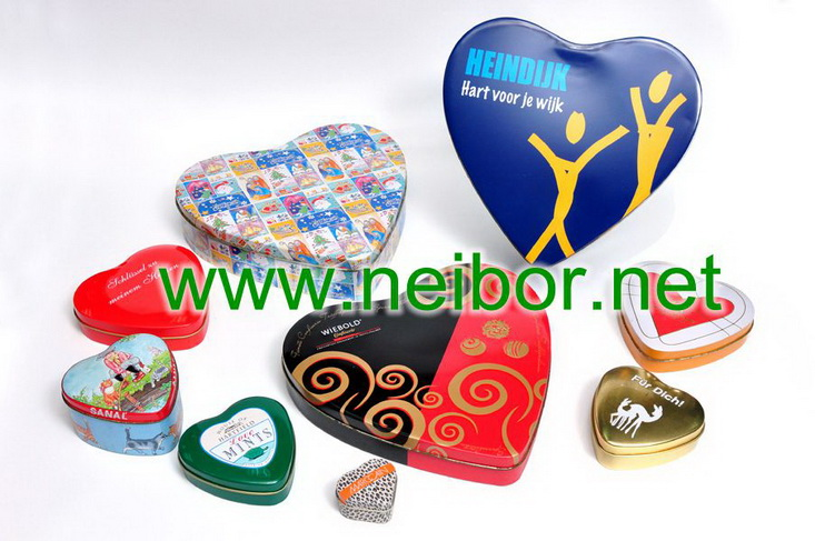 heart shape flower roses design chocolate tin box for Valentins Day