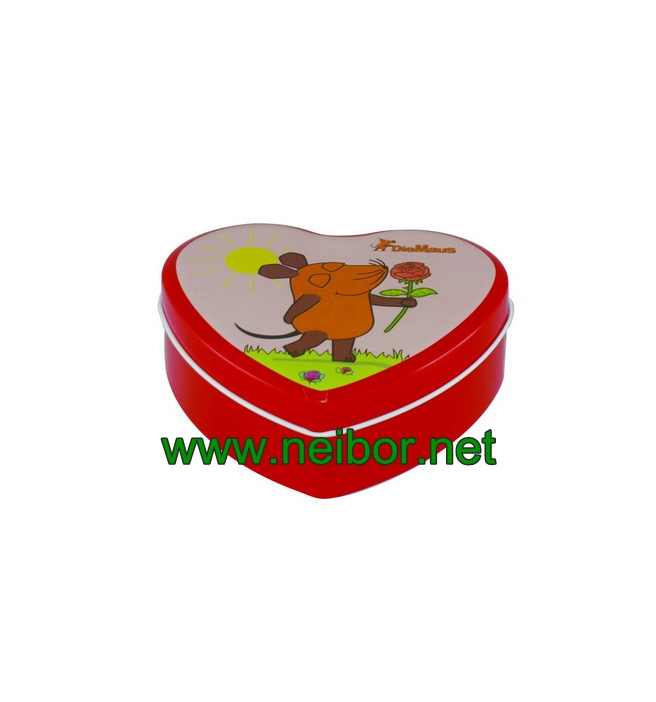 Heart Shape Flower Roses Design Chocolate Tin Box for Valentin's Day