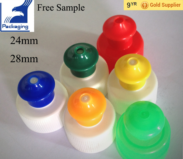 24mm 28mm plastic water bottle push pull cap screw bottle lid