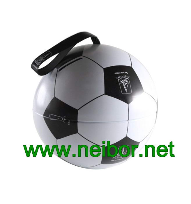 Football Design Hanging Tin Ball Tin Bauble with Ribbon for Candy & Chocolate Packaging