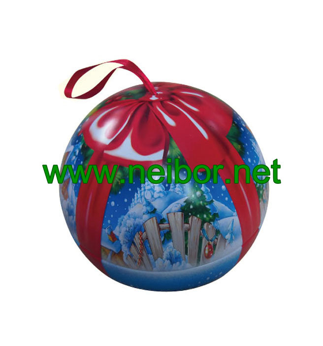 Football design hanging tin ball tin bauble with ribbon for candy and chocolate packaging