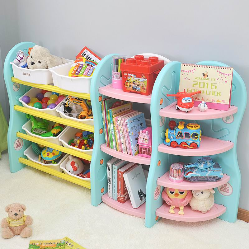 Latest Plastic Childrens Furniture Bookshelf Kids Movable Toy Storage Rack