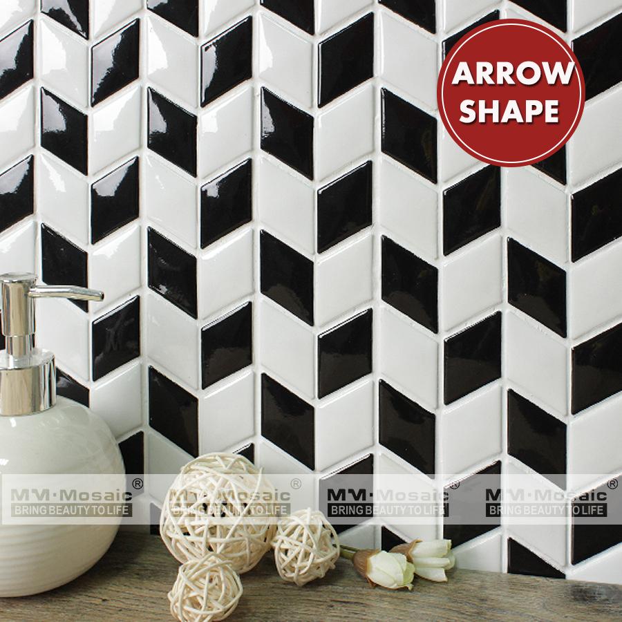 - Chinese Supplier White Black-White Rhombus Ceramic Mosaic Wall
