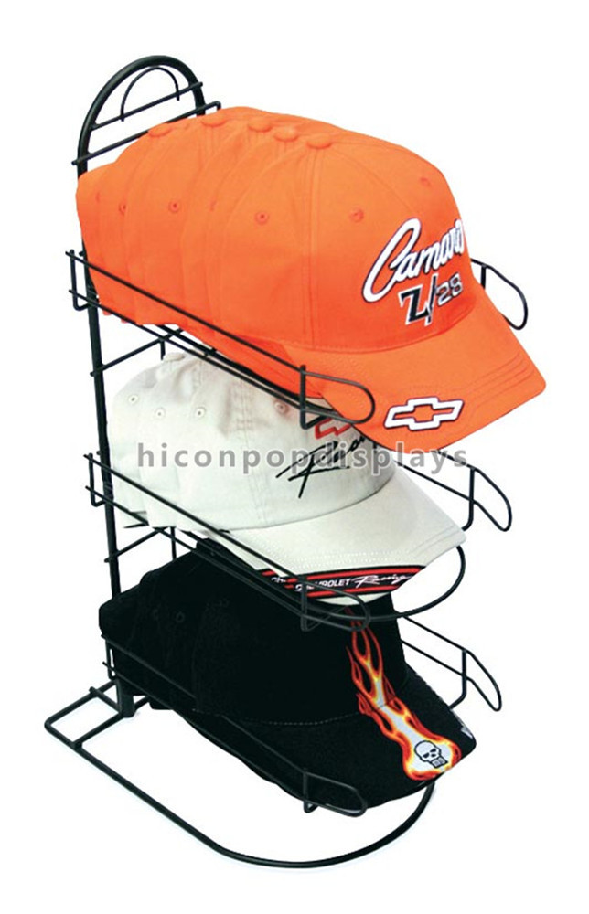 Metal Wire Black Cap Display Racks Countertop For Sports Store