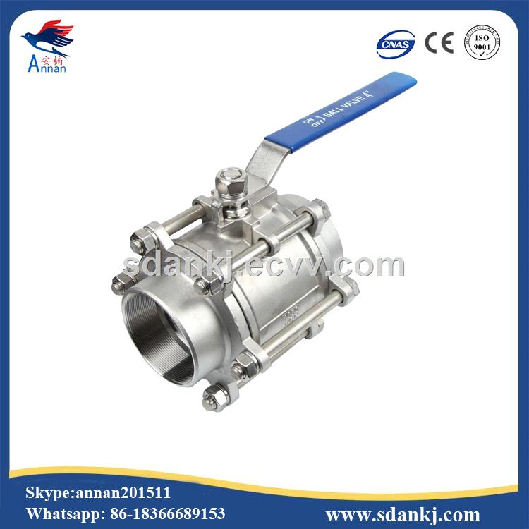 Butt Welding End Thread Connection Pieces Stainless Steel 3 Piece Water Ball Valve