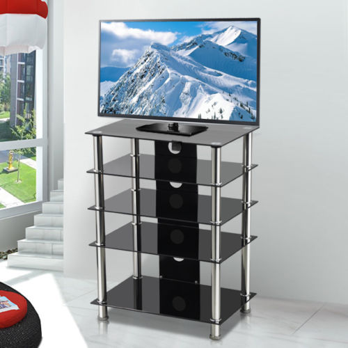 Black Glass Aluminium Tube Tv Media Entertainment Unit Hifi Or Tv
