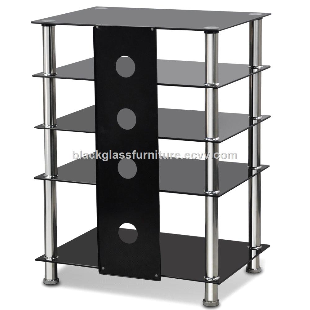timeless design ceb76 03a88 Black Glass & Aluminium Tube TV Media Entertainment Unit HiFi or TV Stand  Table