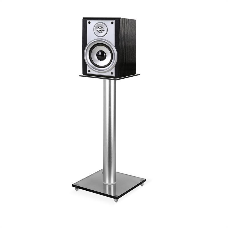 PAIR HIFI SATELLITE SPEAKER STANDS 58cm GLASS